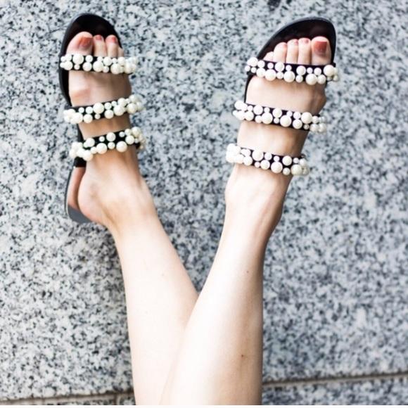 14fddb7b8bf Zara pearl strappy flat sandals slides 9 40. M 5a4ced52c9fcdfe87801204c
